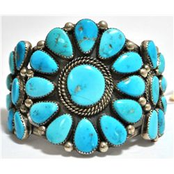 Old Pawn Bright Blue Turquoise Needlepoint Sterling Silver Cuff Bracelet