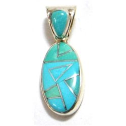 Navajo Turquoise Oval Sterling Silver Pendant - Calvin Begay