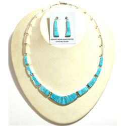 Navajo Turquoise Inlay Sterling Silver Link Necklace & Post Earrings Set - Calvin Begay