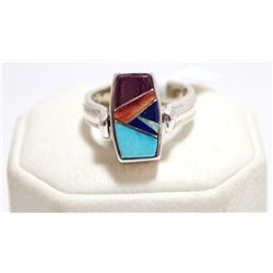 Navajo Reversible Spinner Multi-Stone Inlay Sterling Silver Women's Ring - Calvin Begay