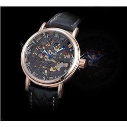 AK-Homme See Through Mechanical Mens Wrist Watch leathe
