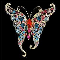 Striking Multicolor Swarovski Crystal Butterfly Brooch