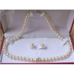 8-9mm white pearl necklaces & earrings se