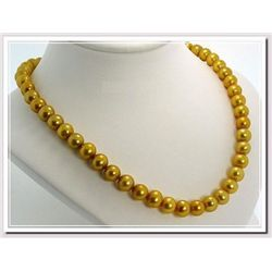 Beautiful 9-10mm South Sea Golden Pearl Necklace
