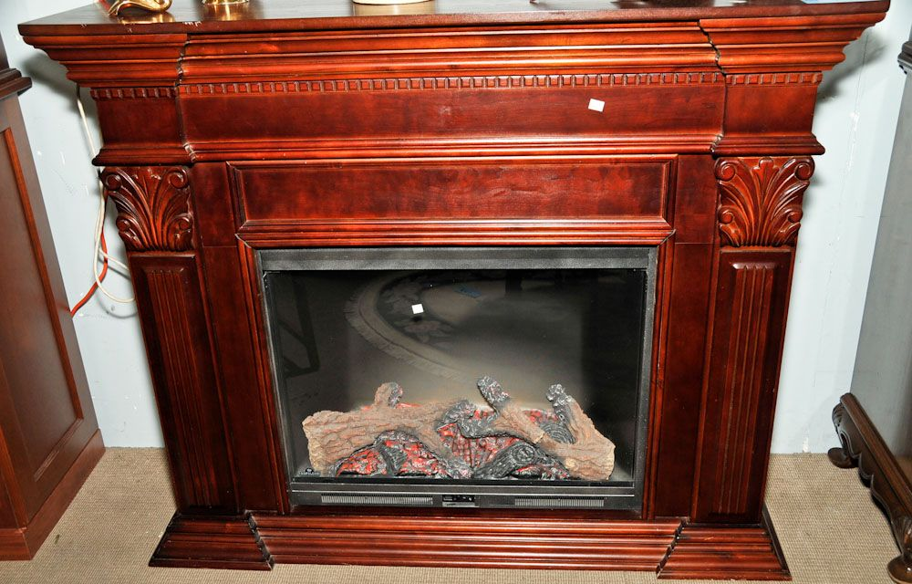 Mahogany Finished Fireplace Mantel Complete