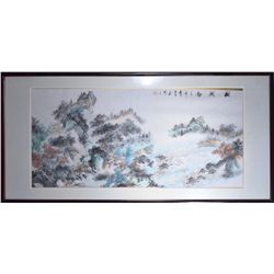 Framed Chinese Watercolour on Paper: Landscape