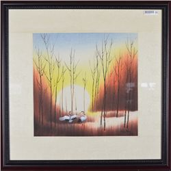 Framed Chinese Watercolour Painting Dated 1983