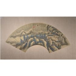 Chinese Mounted Watercolor Fan Painting: Landscape