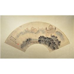 Chinese Mounted Watercolor Fan Painting