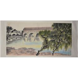 Chinese Watercolour Paintings Scroll Bridge
