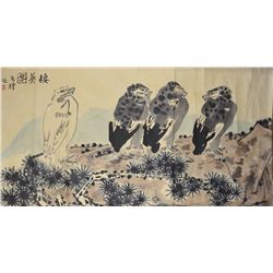 Chinese Watercolour of Birds and Bamboo Li Kuchan