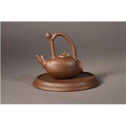 Chinese Yixing Teapot & Plate with Mark