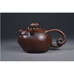 Chinese Yixing Tea Pot with Mark in Form of Pig