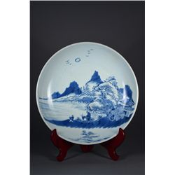 Chinese Blue & White Porcelain Landscape Bowl