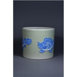 Chinese Blue & White Brush Pot Fish