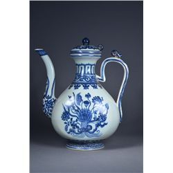 Chinese Blue & White Lotus Ewer