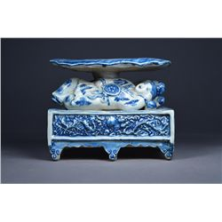 Chinese Blue & White Porcelain Figure