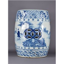 Chinese 19th Blue & White Porcelain Garden Stool