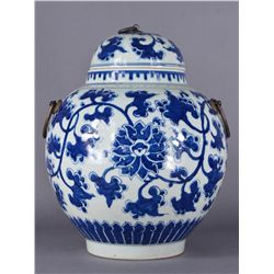 Chinese Qing Period Blue & White Porcelain Jar