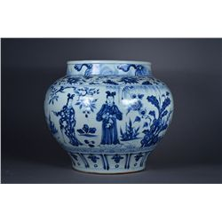Chinese Blue & White Jar with Figural Landscape