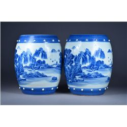 Pair Chinese Blue & White Jars Landscape Kangxi