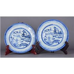 Pair of 19th C. Chinese Export Blue & White Plates