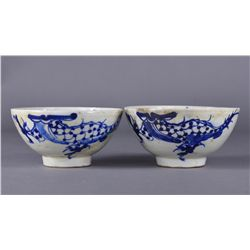 Pair of Straits Chinese Blue & White Swatow Bowls