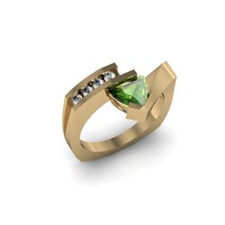 Genuine 0.72 ctw Tourmaline Trillion Diamond Ring 14k