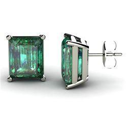 Genuine 10.50 ctw Emerald Earring 14k W/Y Gold