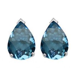 Natural 2.10 ctw Blue Topaz Pear Earrings .925 Sterling