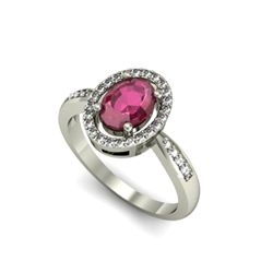 Ruby 1.80 ctw & Diamond Ring 14kt W/Y  Gold