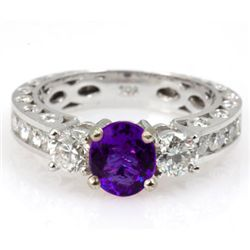 Genuine Amethyst 1.99 ctw & Diamond Ring 14KTGold 6.75