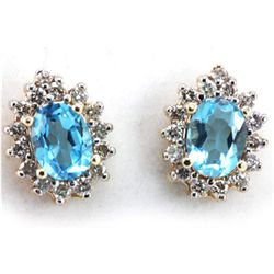 Genuine Blue Topaz 3.72 ctw & Diamond Earring 14KTGold