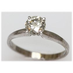 0.92 CTW 14K GOLD DIAMOND RING ROUND H-I/I1
