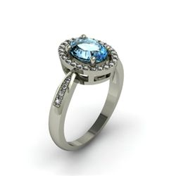 Aqua Marine 1.35 ctw & Diamond Ring 14kt W/Y  Gold