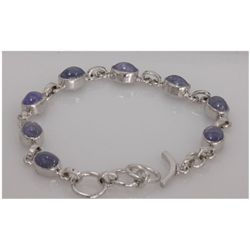 NATURAL 67.50 CTW TANZANITE OVAL BRACELET .925 STERLING