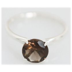 Natural 1.60 ctw Smokey Topaz 8x8 Ring .925 Sterling
