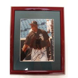 FRANK THOMAS AUTOGRAPHED PHOTO 8X10 IN NICE MATTED FRAME- COA BY HOWARDS