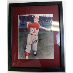 PETE ROSE AUTOGRAPHED 8X10 PHOTO IN MATTED FRAME
