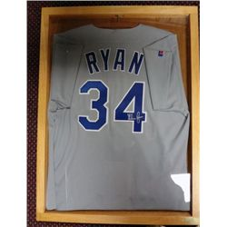 NOLAN RYAN AUTOGRAPHED JERSEY IN DISPLAY CASE COA BY HOWARDS