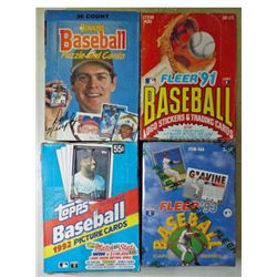 4-Baseball Wax Boxes 1988 Donruss,1991 Fleer,1992 Topps, 1993 Fleer