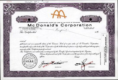 U s mcdonald 39 s corp ipo stock certificate archives for Share certificate template companies house