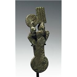An Egyptian Bronze Menat - Deities Shu and Tefnut