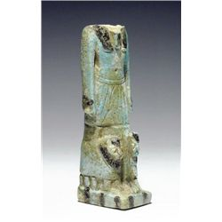 An Egyptian Faience Striding Anubis w/ Lions
