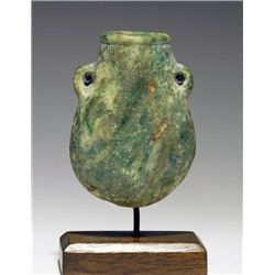 A Egyptian Green Stone Lentoid Vessel