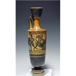 An Attic Black Figure Lekythos Herakles and Greeks Fight an Amazon