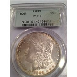 1896 Brilliant Uncirculated Morgan Dollar PCGS MS-61