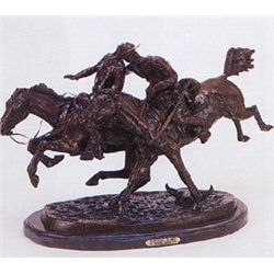 Wounded Bunkie Bronze Sculpture by Frederic Remington.