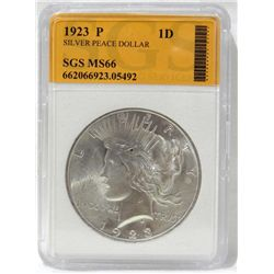 1923 Peace Silver Dollar SGS MS-66