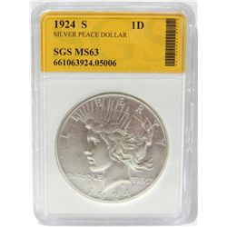 1924-S Peace Silver Dollar SGS MS-63